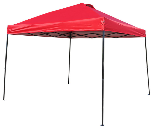 Sunnydaze Heavy-Duty Straight Leg Quick-Up Instant Canopy Event Shelter, Red.