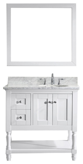 "Virtu Julianna 36"" Single Bathroom Vanity, White With Marble Top, With Mirror."