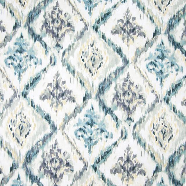 Stone Harbor Blue Medallion Ikat Print Cotton Upholstery Fabric