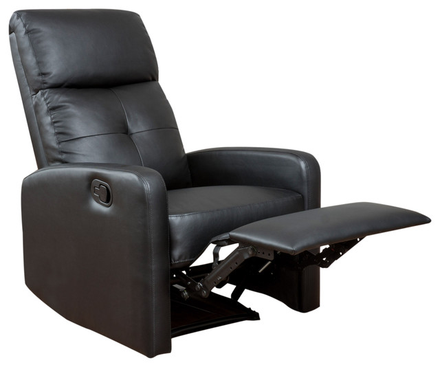 Teyana Black Leather Recliner Club Chair Contemporary Recliner Chairs B