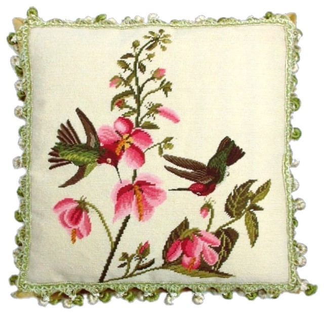 Tropical Hummingbirds Needlepoint Pillow Traditional