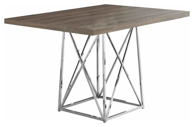 Dining Table 36 X48 Cappuccino Chrome Metal Contemporary