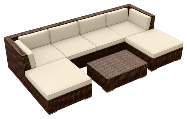7-Piece Modern Outdoor Sofa Set, Brown.