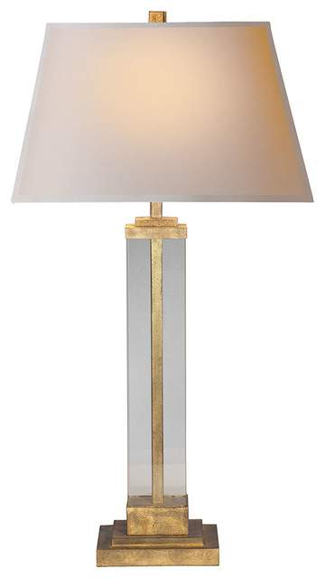 Studio Vc Wright Table Lamp, Gilded Iron And Glass.