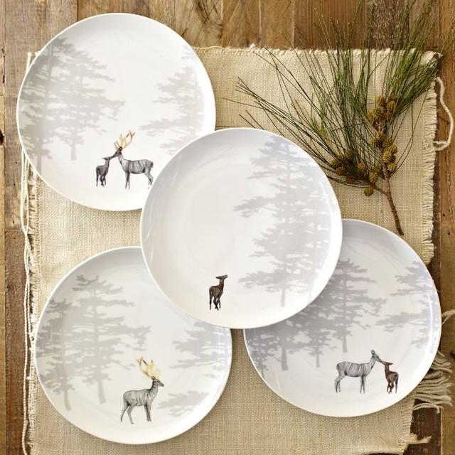 Reindeer Organic Dessert Plates Set Of 4 Eclectic