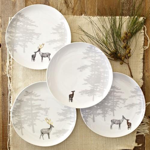 Reindeer Organic Dessert Plates, Set of 4 eclectic dinnerware