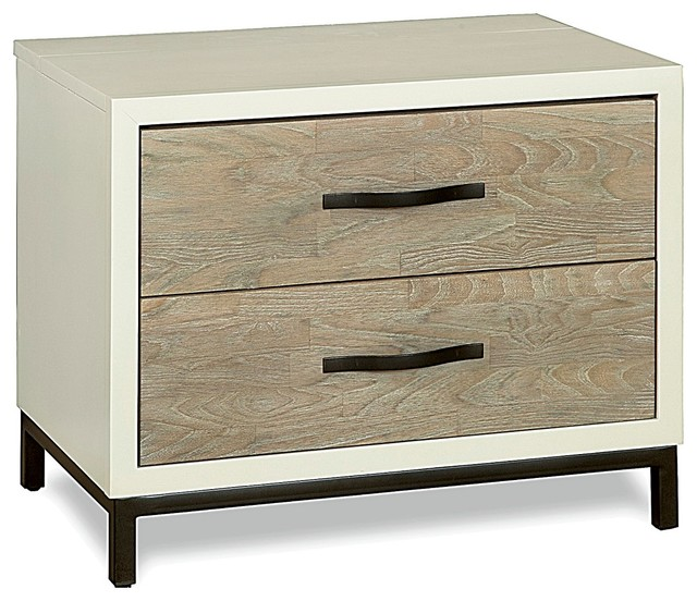 Kennedy Manor Dining Room: Modern Gray And White 2 Drawers Nightstand