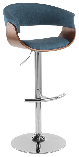 LumiSource Vintage Mod Adj. Barstool with Swivel, Walnut and Blue