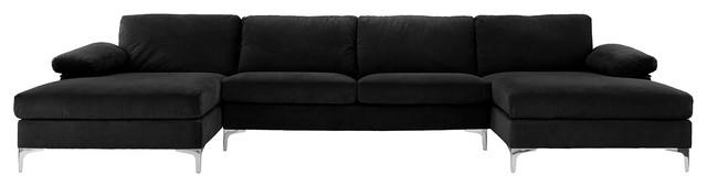 Large Velvet Fabric U Shape Sectional Sofa Contemporary