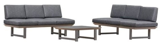 Brandy Outdoor 3-Piece Sofa Set, Coffee Table And Water Resistant Cushions.