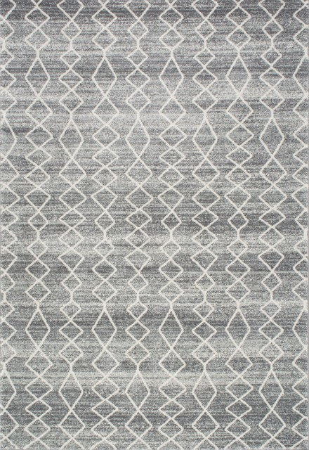 Geometric Moroccan Trellis Rug, Gray, 9&x27;x12&x27;.