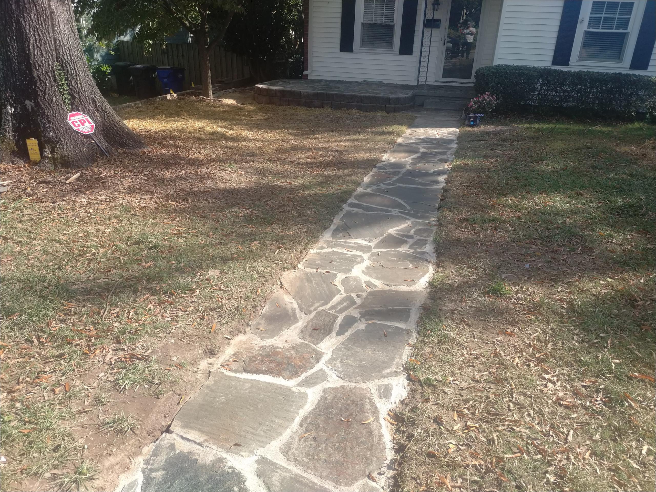 Flagstone sidewalk, walkway, patio, retaining wall