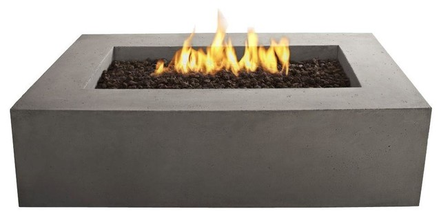 Baltic Natural Gas Rectangle Fire Pit Table, Glacier Gray