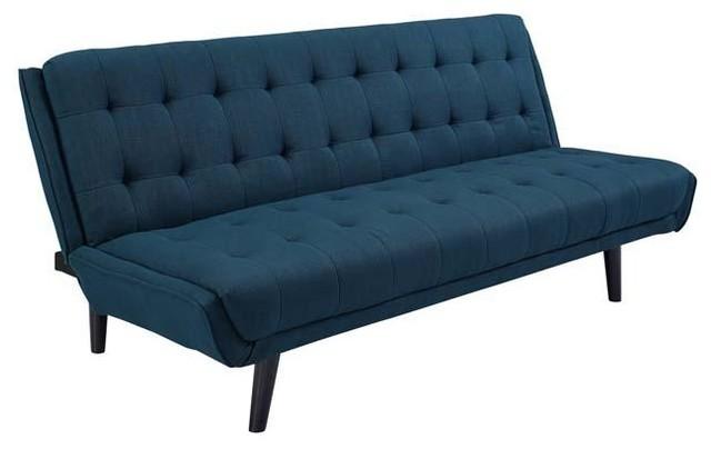 MANTEN TUFTED CONVERTIBLE FABRIC SOFA BED/AZURE - Midcentury ...