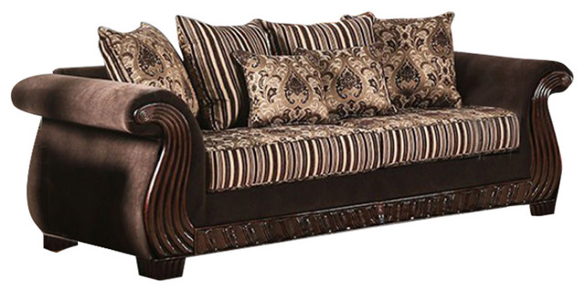 Charmant Ratteling Traditional Style Sofa , Brown
