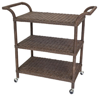 Sausalito Rattan Wrapped Bar Cart, Dark Walnut