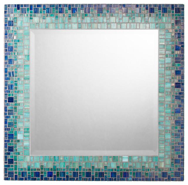 Handmade Mosaic Sea Mirror  Deep Teal and Blue  18  contemporary wall. Opus Mosaics Handmade Mosaic Sea Mirror  Deep Teal and Blue   Wall