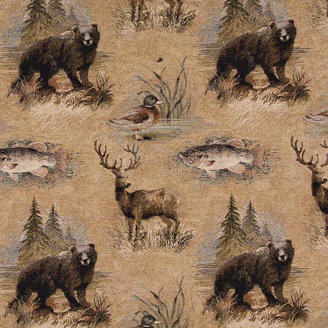 Bears Fish Ducks Deer And Trees Themed Tapestry Upholstery Fabric By