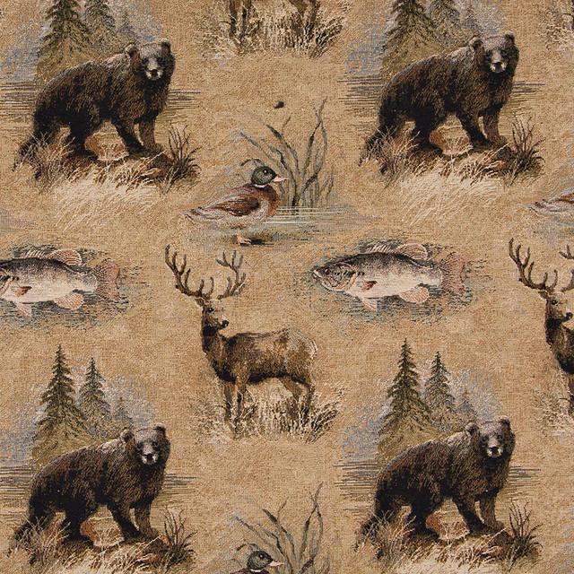 Palazzo Fabrics Bears Fish Ducks Deer And Trees Themed