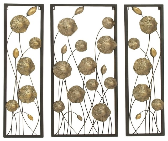 Rustic Wall Decor Set : Metal gold wall decor set of rustic by