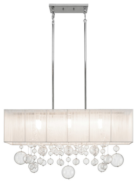 "Imbuia 32"" Rectangle Pendant, Chrome"