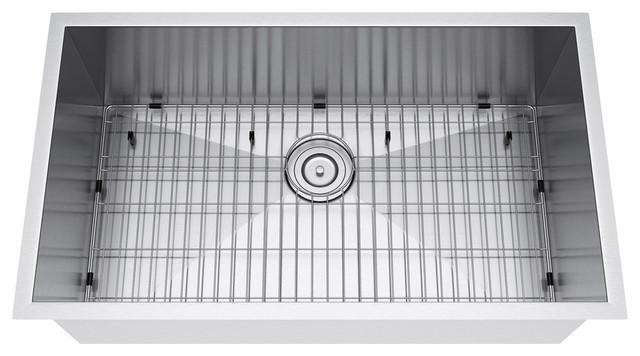 "33""x19"" Single Bowl Undermount Stainless Steel Kitchen Sink, Strainer And Grid."