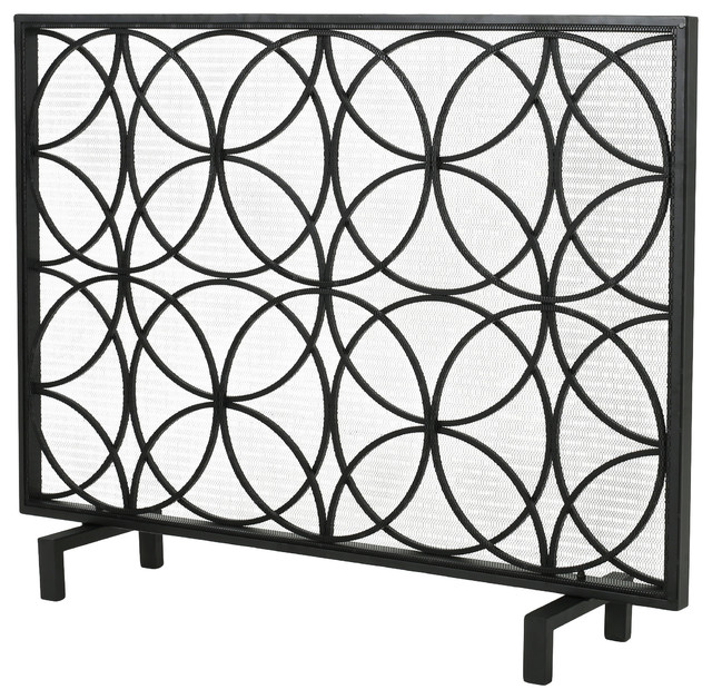 Veritas Single Panel Black Iron Fireplace Screen, Black