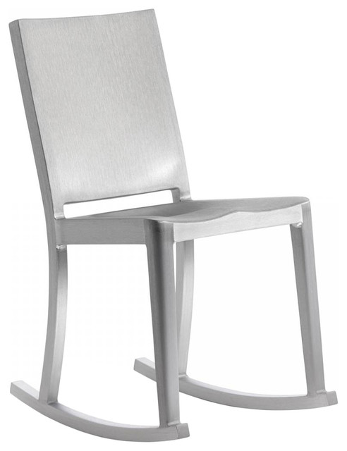 Emeco Modern Hudson Rocking Chair Aluminum, Brushed Contemporary Outdoor  Rocking Chairs