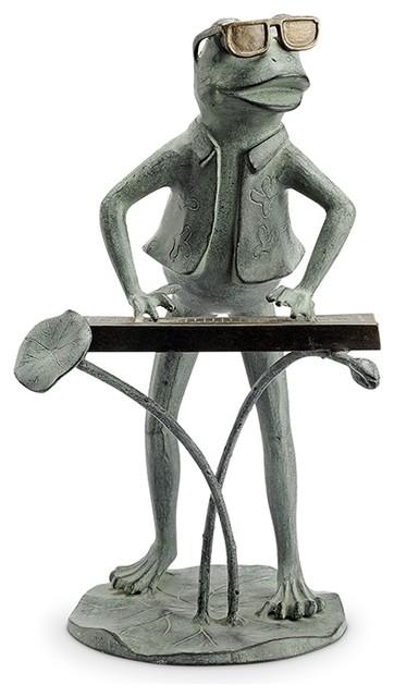 "Selfie Frog Friends Garden Sculpture Statue Whimsical Frogs Toads 22/""H"