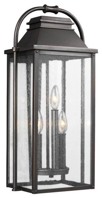 3-Light Outdoor Wall Lantern, Antique Bronze.