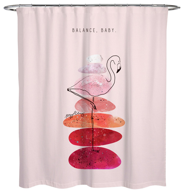Maggie P Chang Flamingo And Stacked Stones Shower Curtain
