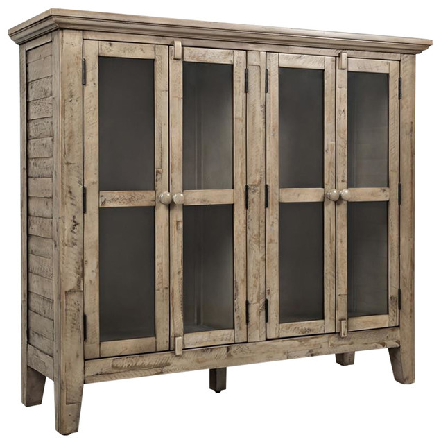 jofran rustic shores watch hill weathered gray 48 inch accent cabinet