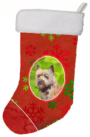 cairn terrier red green snowflakes holiday christmas christmas stocking - Red And Green Christmas Stockings