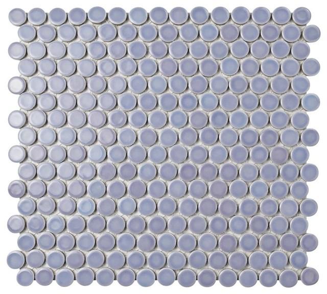 """12""""x12.63"""" Penny Porcelain Mosaic Tiles, Set of 10, Lavender"""