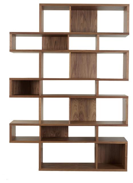 London Composition Walnut Frame Backs Modern Bookcases