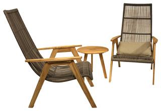 Idra 3-Piece Teak and Wicker Lounge Chair Set
