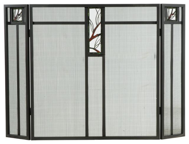 "52""x34"" Pine Branch Glass Fireplace Screen"