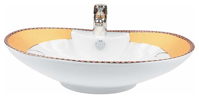 "Bathroom Sinks Phoenix phoenix"" white gold accented countertop vessel sink - traditional"