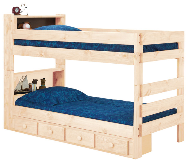 Ameriwood Extra Long Twin over Twin Bookcase Bunk Bed ...