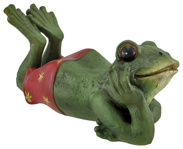 Shop Houzz Zeckos IndoorOutdoor Daydreaming Frog Statue