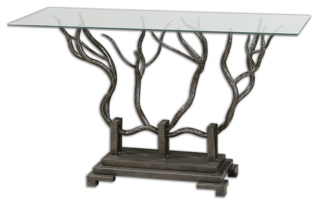 Uttermost Esher Bronze Console Table Rustic Console Tables