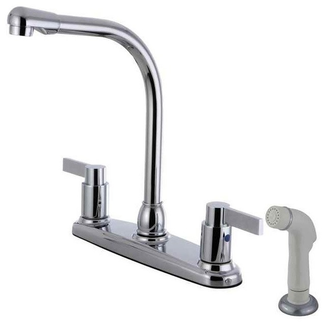 Kingston Brass 8 Centerset Kitchen Faucet With White Side Sprayer Kitchen Faucets Houzz