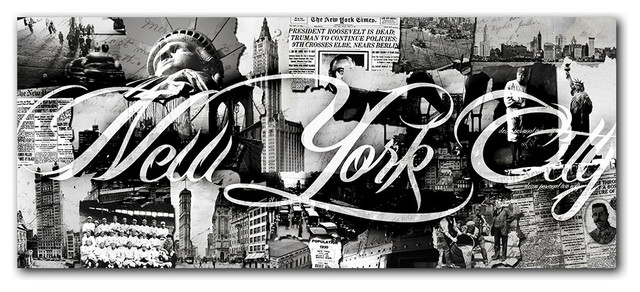 "New York City Wall Art vintage b&w new york city"" canvas wall art - contemporary - prints"