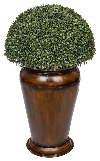 Artificial boxwood half ball topiary in urn black house of silk artificial boxwood half ball topiary in urn black house of silk flowers inc mightylinksfo