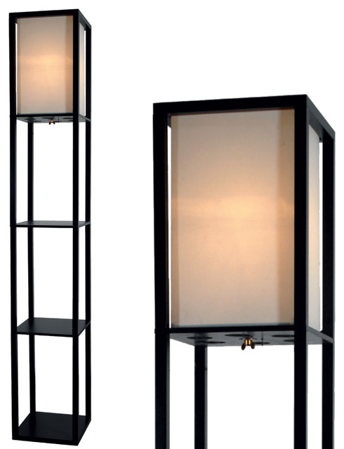 """Floor Lamp with Shelves 63"""" Tall Wood with White Linen Shade"""