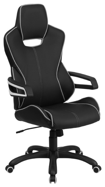 Satya High-Back Executive Office Chair, Black With White Trim.
