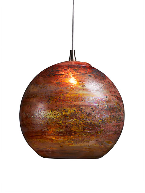 Fireball Glass Pendant Light Red Multi Contemporary