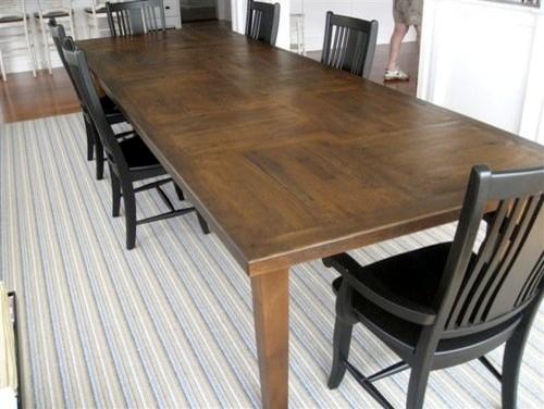 Custom 12\'ft Rustic Oak Dining Table In Customer\'s Home