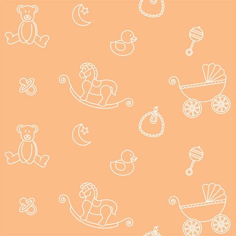 Nursery Icons Peach Shelf Paper Drawer Liner 120x12 Laminated Vinyl