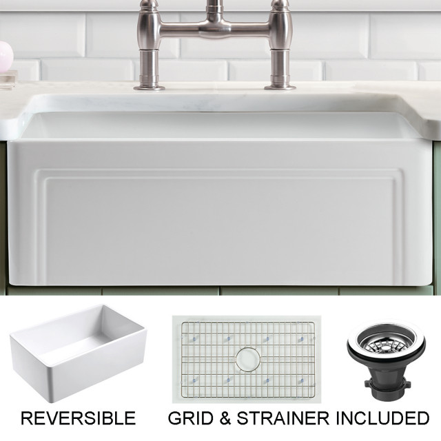 Olde London Reversible Farmhouse Single Bowl Kitchen Sink, Grid, Strainer,  30\